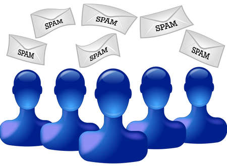 Blue persons with spam envelopes isolated on white Illustration