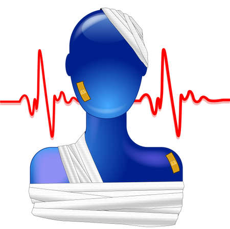 Blue person injured with heartbeat Stock Vector - 8738608