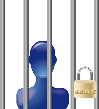 Blue person in prison with lock Stock Vector - 8738606