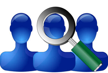 Row of blue persons with magnifying glass
