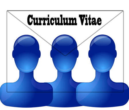 curriculum vitae: Three persons with curriculum vitae letter Illustration