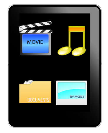 Black table pc with music,movie,documents and image icon Vector