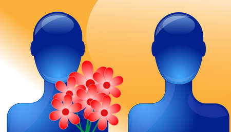 Person giving flowers to another person Vector