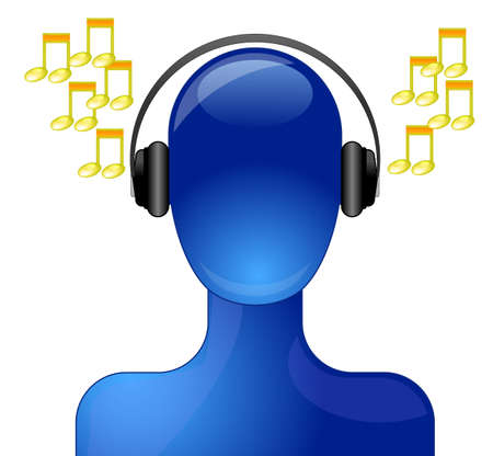 Blue person with headphone listening to music