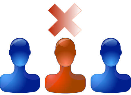 red head: Row with blue persons with red person in middle which is not selected