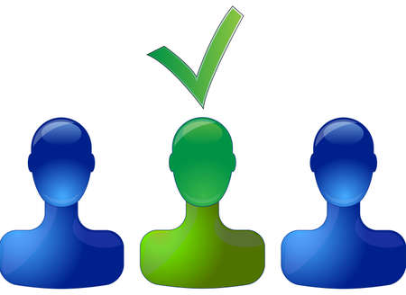 Row with blue persons with green person in middle which is selected Illustration