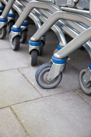 Detail of row shopping carts Stock Photo - 9088032