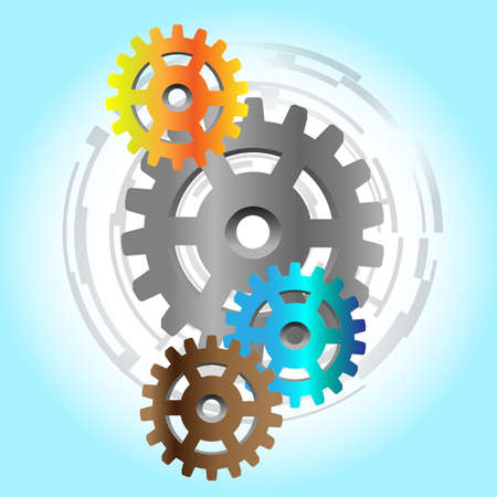 Four colorful gears with abstract background Stock Vector - 9088036