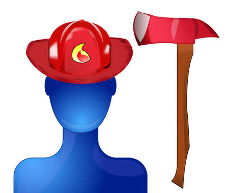 Blue fireman with red helmet and axe Stock Vector - 9342084