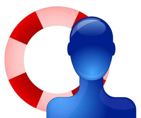 life saving: Blue person with life saving buoy
