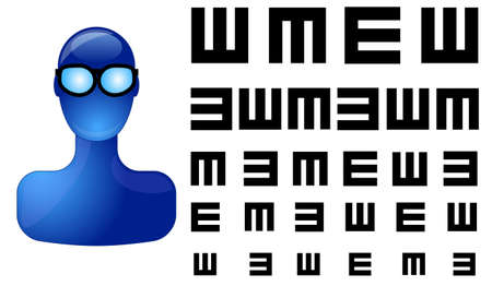 Blue person with eye test Stock Vector - 9455309