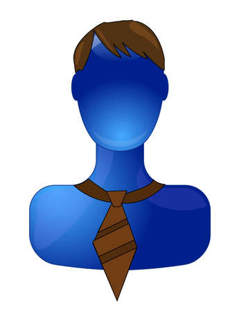 Blue business man with brown tie Vector