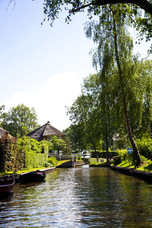 View over Dutch canal at famous place Giethoorn Stock Photo - 9742692