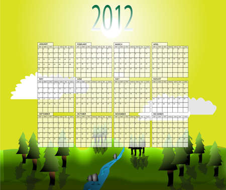months of the year: Calender with all months of year 2012