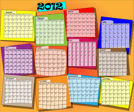 Calender with all months of year 2012 Vector