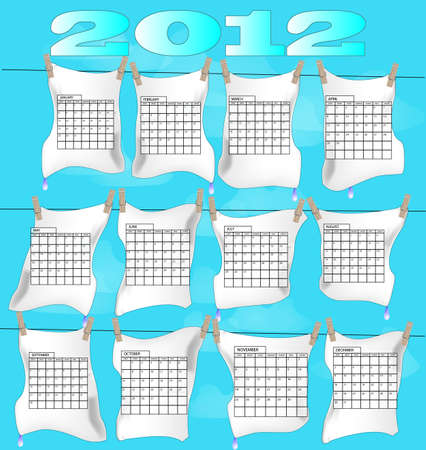 Calender with all months of year 2012 on laundry Vector