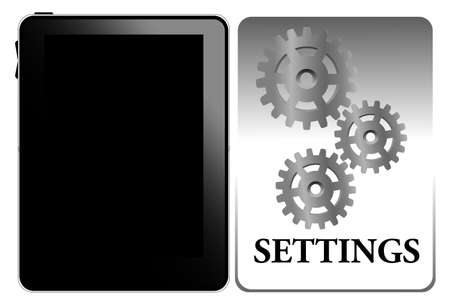 Illustration of settings of tablet pc Vector