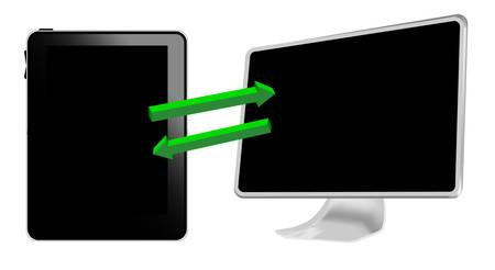 Tablet pc connecting with computer Stock Vector - 9910958