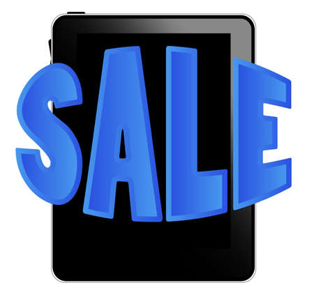 Black tablet pc with sale sign Stock Vector - 9910957