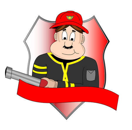 safety: Badge of fire department with fire man Illustration