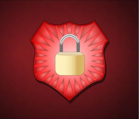 Illustration of shield with lock for security Vector
