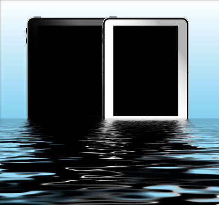 Black and white tablet pc with water background Stock Photo - 10206479