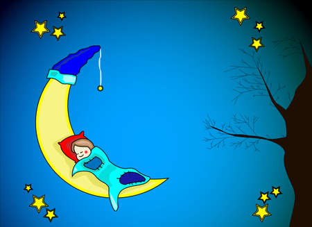 moon and stars: Little girl sleeping on yellow moon Illustration