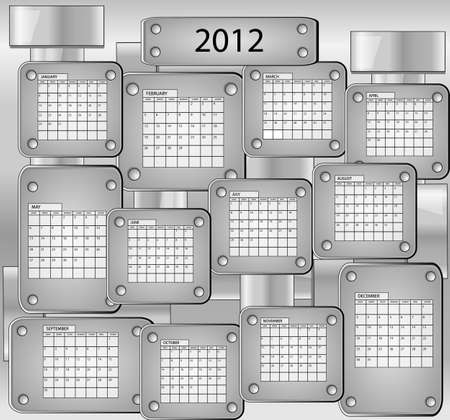 Metal calender with all months of year 2012 Vector