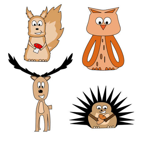 Hedgehog, owl, deer, squirrel from the forrest Stock Vector - 10364973