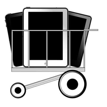 Black and white tablet pc in shop cart Stock Vector - 10364974