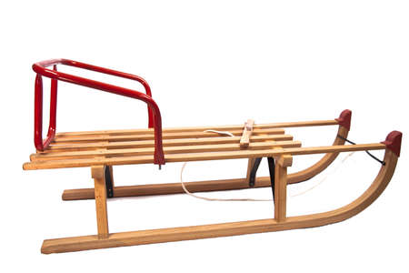 sled: Wooden sledge isolated on white Stock Photo