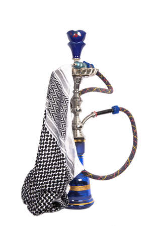 waterpipe: Blue and silver arabic waterpipe with arabic kerchief isolated on white Stock Photo