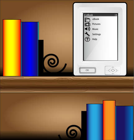 closet communication: Bookcase with colorful books and ereader