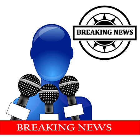 Press conference with blue person with breaking news Stock Vector - 10668093