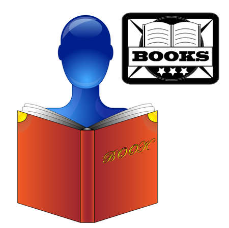 Blue person reading a book Illustration