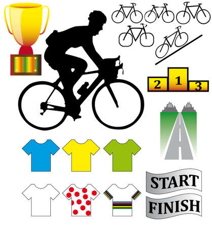 training wheels: Cycle racing bikes, shirts and other illustrations