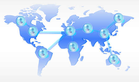 Several persons in social media network on world map Stock Photo