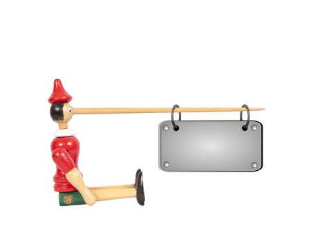 Mu�eco de Pinocho madera con placa larga nariz y nombre Foto de archivo - 10944308