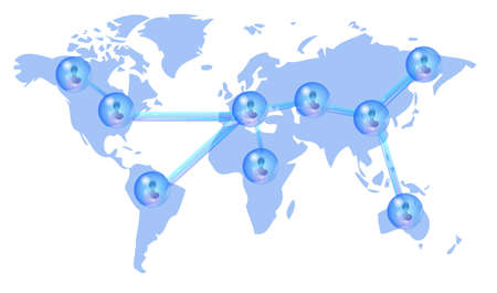 Several persons in social media network on world map Illustration