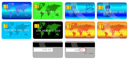 creditcard: Several creditcard designs front and back Illustration