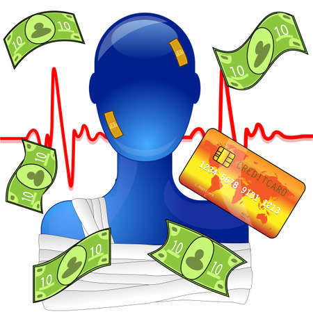 Injured person with money and creditcard, expensive medical help Stock Vector - 10987241