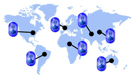 linkedin: Friends in social media network on world map