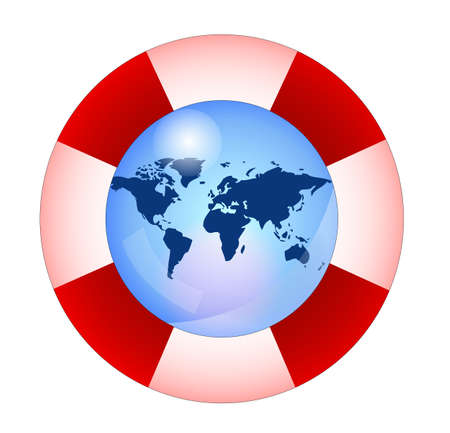 international recycle symbol: Life buoy with earth, save the earth Illustration