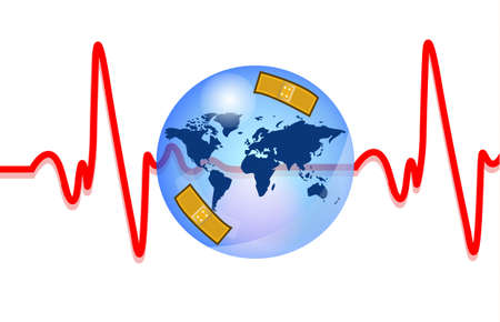 Blue earth injured with heartbeat Stock Vector - 11096975