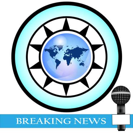 rueda de prensa: Conferencia de prensa con tierra de color azul con noticias de �ltima hora Vectores