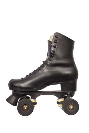 inline skates: Black roller skate with high heel and little dirt isolated on white