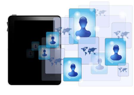 linkedin: Tablet pc with social media