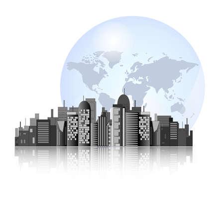 corporate social: Skyline della citt� con sfondo la terra per il commercio internazionale Vettoriali