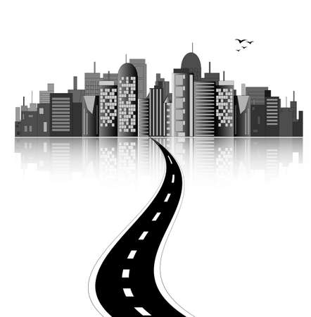 Horizonte de la ciudad con la carretera