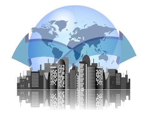 사무실 건물: 지구 배경과 국제 비즈니스에 대 한 화살표가있는 도시의 스카이 라인 일러스트